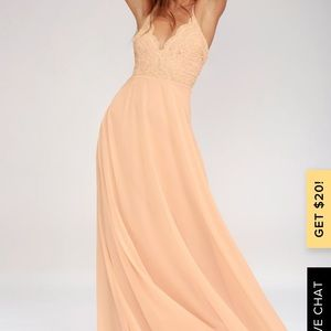 NWOT lulus MADALYN BLUSH LACE MAXI DRESS